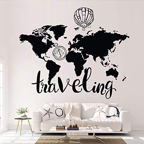 HFWYF Mapa del Mundo Que viaja Globo de Aire Caliente Tallado Dormitorio Infantil Home Art Pegatinas de Pared 56x68cm