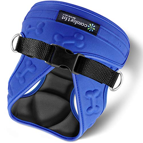 metric USA Comfort Fit Step in Dog Vest Harness Easy to Put on Take Off Adjustable Soft Padded Puppy Harness for Small and Medium Dogs Under 30 lbs, Blue, M, Chest 16-20