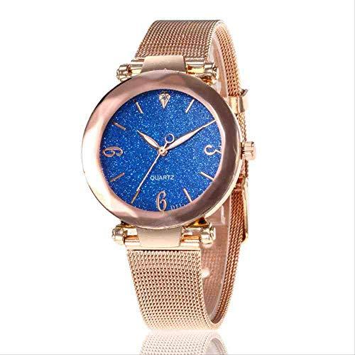 OLUYNG Reloj de Pulsera Nuevo Reloj de Mujer con Estilo Personalidad Polvo de Plata en Forma de Diamante Diamante Malla de Oro con Reloj de Cuarzo Femenino Azul