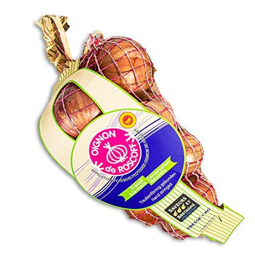 Food-United Roscoff Zwiebeln 4 kg AOP Oignon de Roscoff rose Frankreich mild aromatisch Edel-Zwiebel als Zopf Premium Qualität super Haltbarkeit hoher Gehalt an den Vitaminen A, B und C