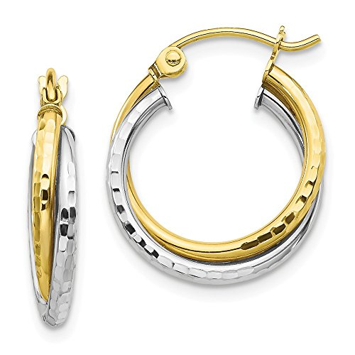 10k Two Tone Yellow Gold Textured Twist Hoop Earrings Ear Hoops Set Fine Jewelry For Women Gifts For Her