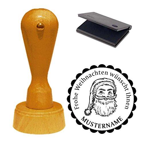 Stempel Kerstman - met kussen en persoonlijk adres - Ø 40 mm