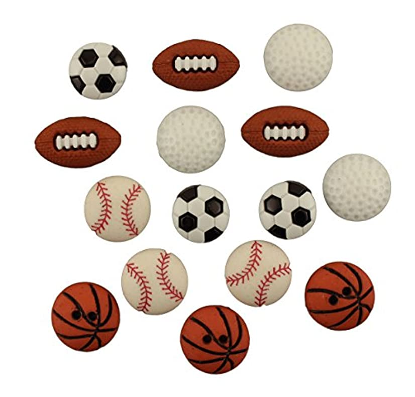 Buttons Galore Craft & Sewing Buttons - Let's Play Ball - 3 Packs (45 Buttons)