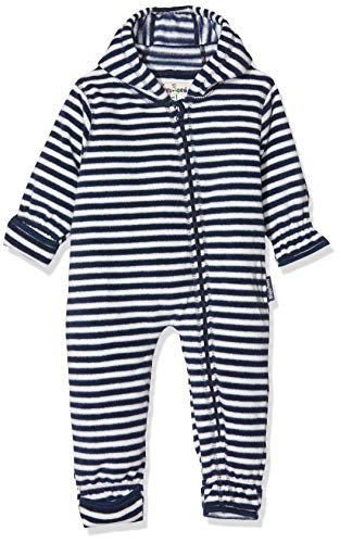 Playshoes Unisex Baby Schneeanzug Fleece-Overall Maritim, Blau (Marine/weiß 171), 68