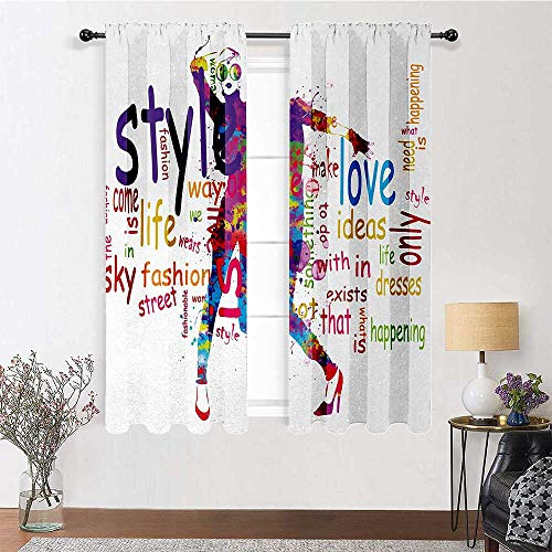 GugeABC Patio Curtains 96 inch Length, Girls Thermal Insulated Curtains 72' x 96' - Stylish Woman Figure Silhouette with Colorful Stains Love Dresses Happiness Theme, Multicolor