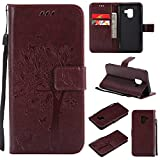 Casake Huawei Mate 10 Case [Emboss] with [Magnetic Closure][TPU Inner Shell][Card Slots] Leather Flip Case Compatible with Huawei Mate 10 -Marron#1