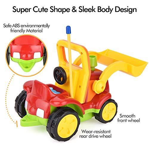 RC Auto kaufen Baufahrzeug Bild 5: Gotechod Ferngesteuerter Bagger, Cartoon RC Radlader mit Licht Musik Greifer, Spielzeugauto mit Fernbedienung für Kleinkind Kinder ab 2 Jahren*