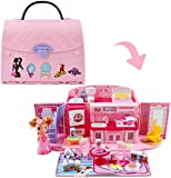 deAO Children's 2-In-1 Pink Portable Doll House Play Set with Light and Music Functions, Accessories, Carry Case and Doll – Great Gift for Kids