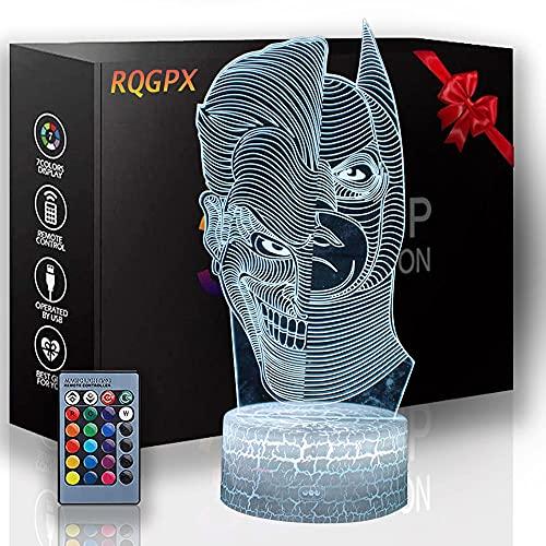 Luz de noche para niños Batman The Joker 3D Lámpara de decoración de noche con control remoto, regalos de cumpleaños para niñas, regalo de cumpleaños para niñas