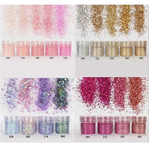KunmniZ 18 Botellas Shinning Llenado Flash Glitter Polvo UV Resina epoxi Pigmento Polvo Manicura DIY Dedos Belleza Nail Art Lentejuelas para Pascua