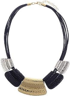 AEVIO Geometry Collar Necklace Bib Statment Leather Choker Gold Silver Black Personalized Metal Trapezoid Pendant Fashion Jewelry for Women