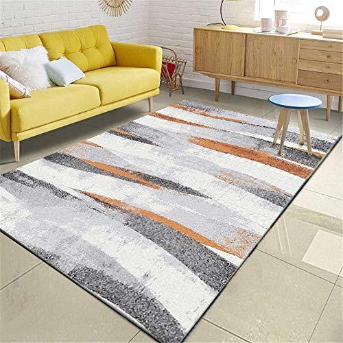WQ-BBB Minimalistisch hygroskopizität tapisch Gestreifte abstrakte Kunst pflegeleicht Schlafzimmer Teppiche grau weiß braunbüro Room Living schlafzimmertepich120X160cm