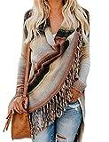 Relipop Women's Cardigans Open Front Color Stripe Slash Tassel Hem Poncho Knit Sweater
