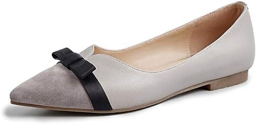 AJUNR Femmes Loisirs Fond Plat Femme Printemps Baitie Bow 1 5 Cm Faible Talon Petites Chaussures en Cuir