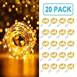 MUMUXI 20 Pack Fairy Lights Battery Operated (Included) 3.3ft 20 LEDs Mini Waterproof String Lights Flexible Silver Wire Firefly Starry Lights for DIY Wedding Party Christmas Decorations,Warm White