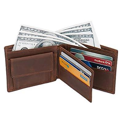 Men's RFID Blocking Vintage Cowboy Genuine Leather Bifold Wallet With Coin Pocket Large Dark Brown