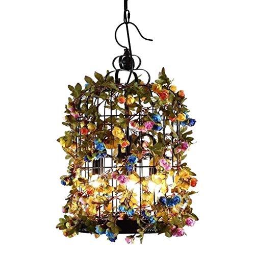 CHNOI Lámpara Colgante de época Moderna Industrial Lámpara Colgante de Swallowtail Retro Pantalla Ronda Creativa del diseño Floral lámpara Colgante, lámpara de Altura Ajustable, Loft Cafe Bar Estilo