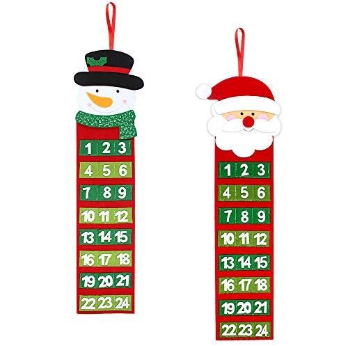 Kulannder Filz Weihnachtskalender,2Pcs Weihnachtskalender Selbst Befüllen, Adventskalender Weihnachtsmann,Weihnachtskalender Schneemann