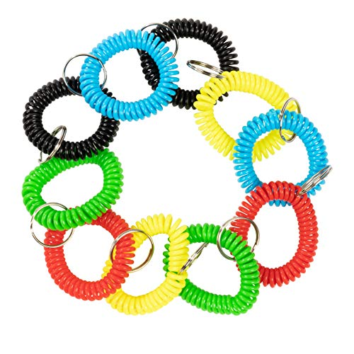 Coil Wristband Keychain - 50-Pack Spring Coil Keychain Bracelet, Flexible Spiral Coil Stretchable Wristband with Key Ring, for Gym, Pool, Sauna and Outdoor Sports