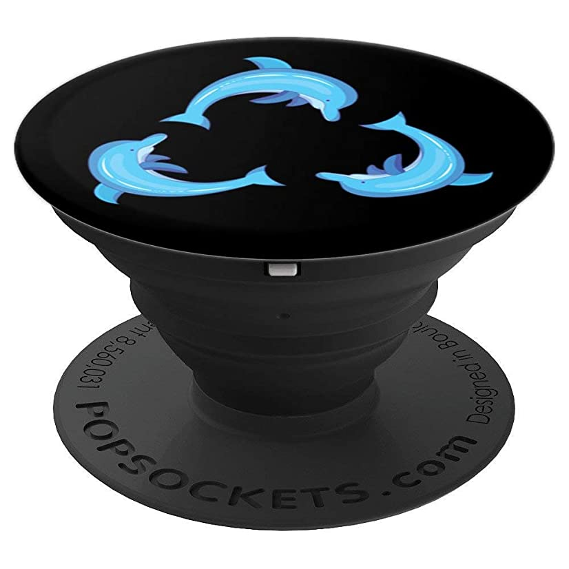 Dolphin Gifts Ideas for Women Kids Three Swimming Blue Dolph - PopSockets Grip and Stand for Phones and Tablets
