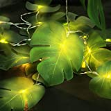 Ivenf LED Monstera Leaf String Lights, 10 ft Hanging 2 Modes Steady Summer Party Decorations for Outdoor and Indoor Supplies