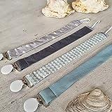 Mimuselina Pack 4 Chupeteros Bebé | Portachupetes Rectangular, Estampados Modernos y Clásicos, 100% Algodón, Color Wasabi, 27 x 2,5 cm