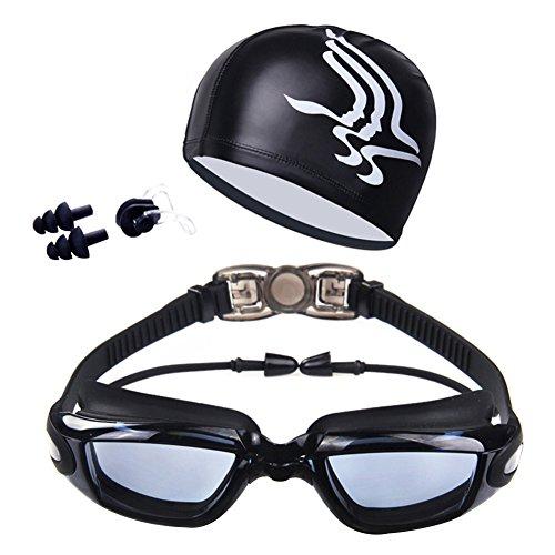 Lai-LYQ Zwembril met hoed oor Plug Neus Clip Suit Waterdichte Zwembril Anti-mist - Electroplating Black