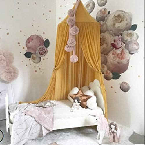 Dome Kant Netten Bed Cover Chiffon Bed Netten Dubbele Laag Extra Grote Vliegende Insecten Bescherming Muggen Subnet Geel