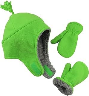 N'Ice Caps Little Boys and Baby Sherpa Lined Warm Fleece Pilot Hat Mitten Set