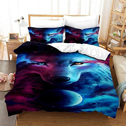 Zyttao Animal Lobo patrón de impresión 3D Funda nórdica Funda de Almohada, tamaño King Doble Individual, Decorar Dormitorio, apartamento, el Mejor Juego de cama-18_135 * 200cm2(pcs)