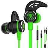 Wired E-Sport Earphone Noise Cancelling Stereo Bass Gaming Headphone with Mic, KEKU 3.5mm HiFi Earbuds with Extension Cable and PC Adapter for PC, Laptop and Cellphones (Green)