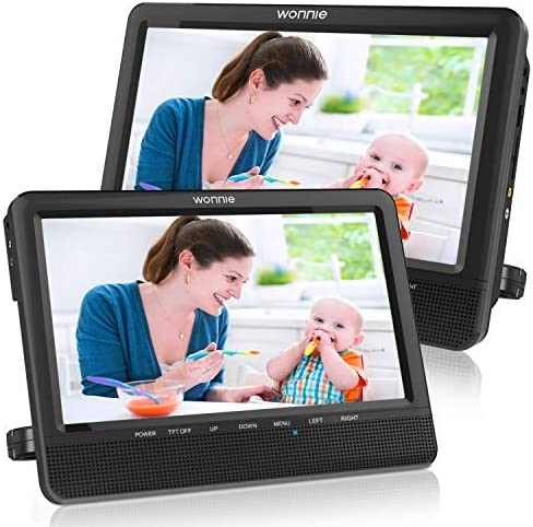 WONNIE 10 Dual Car DVD Player Portable Headrest CD Players for Kids with 2 Mounting Brackets product image