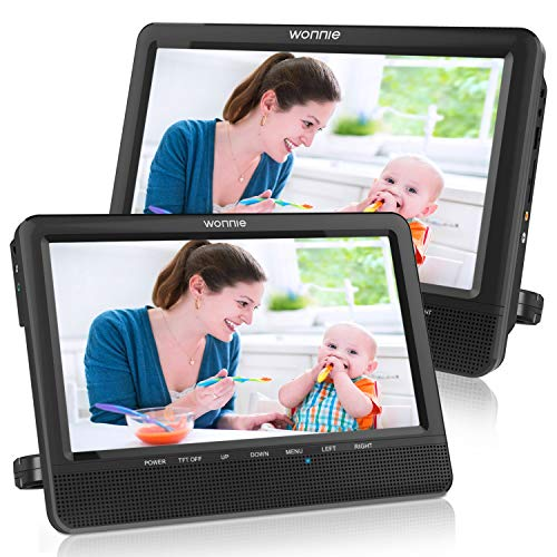 WONNIE 10'' Dual Car DVD Player Portable Headrest CD Players for Kids with 2 Mounting Brackets Built-in 5 Hours Rechargeable Battery Great for Family Travel ( 1 Player+1 Monitor )