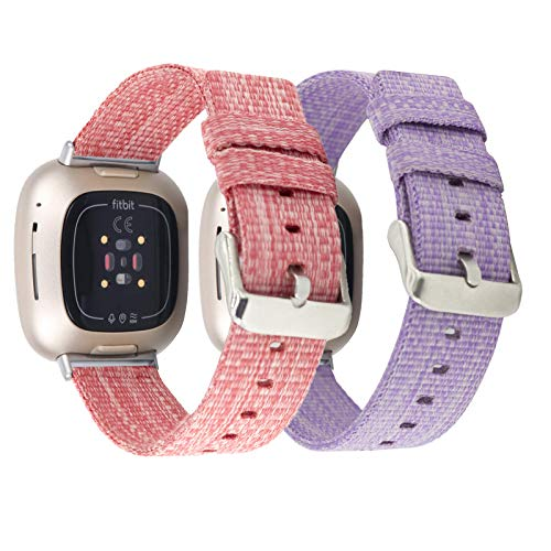 Mtozon 2-Pack Bands Compatible with Fitbit Sense/Versa 3, Breathable Woven Fabric Strap, Adjustable Replacement Wristbands for Women Men, Lavender+ Pink