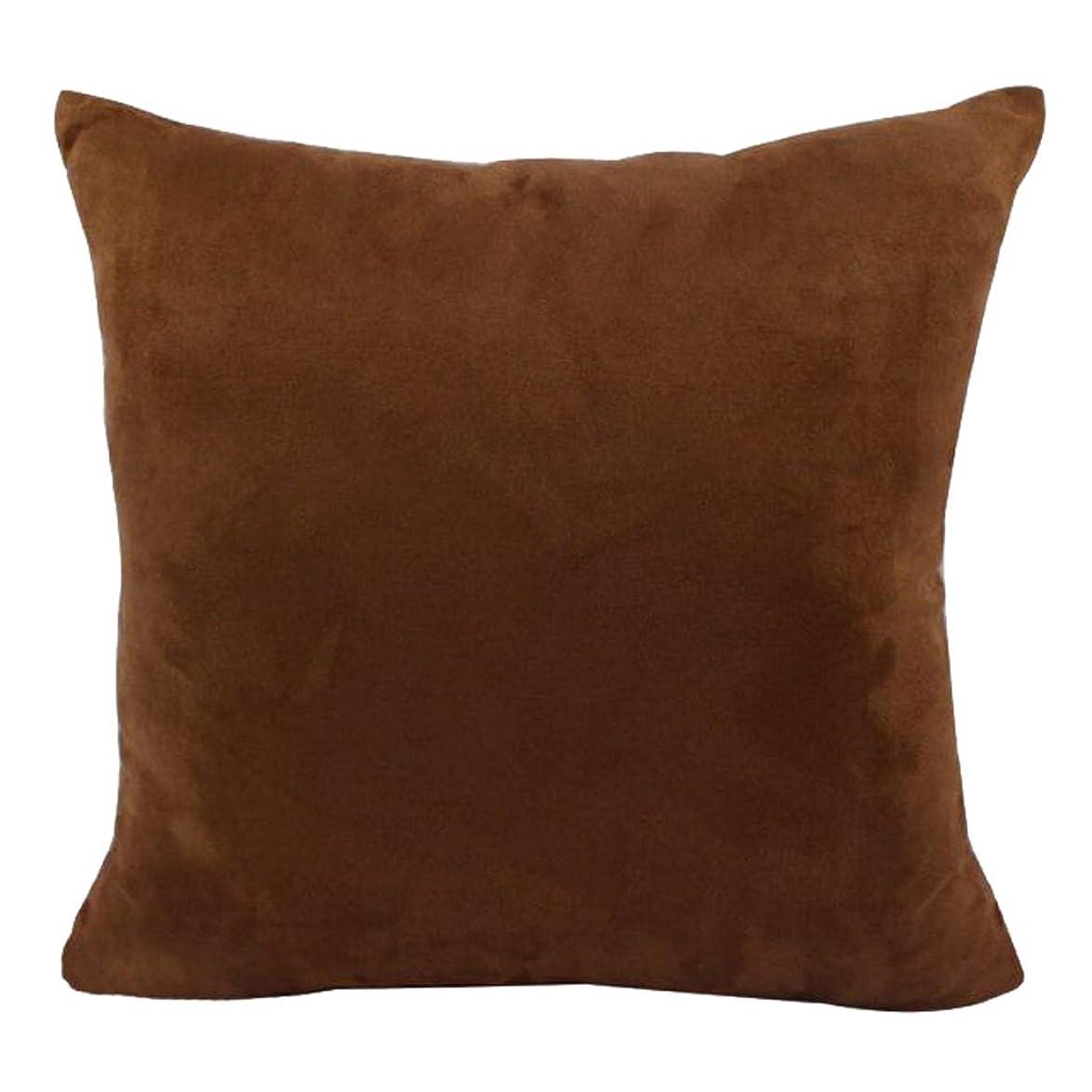 寝室を掃除する芸術的質量B Blesiya クッションカバー 柔らかいベルベット 枕カバー シンプル エレガント 多色2サイズ - ブラウン, 45×45cm