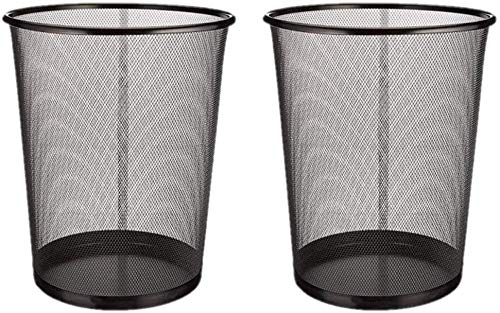 EUROXANTY® Papeleras de oficina | 27 x 24 cm | Papelera circular de rejilla metálica | Papelera negra | 10 L | Pack de 2 unidades