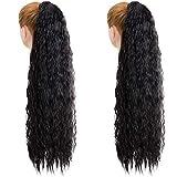 2 piezas de 32 pulgadas de largo, negro, rizado, cola de caballo, extensión de cabello, envoltura alrededor de...