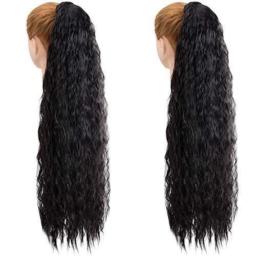 2 piezas de 32 pulgadas de largo, negro, rizado, cola de caballo, extensión de cabello, envoltura alrededor de extensiones de cola de caballo, clip sintético en cola de caballo para mujeres