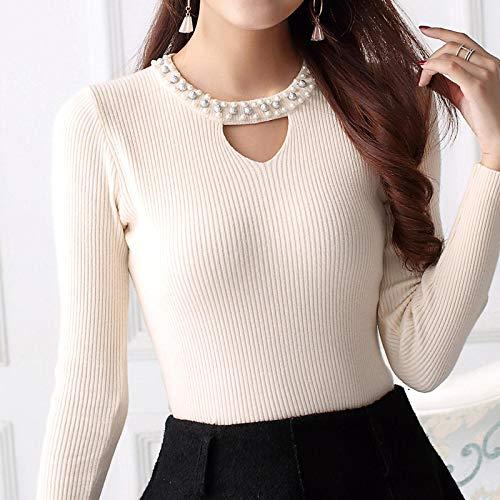 Moda Sudaderas Jersey Sweater Suéter Mujer Moda con Cuentas Cuello Redondo Ahueca hacia Fuera Jerseys Mujeres Sexy Slif Fit Suéter De Manga Larga OneSize 08