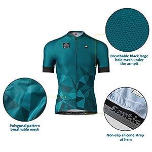 Santic Maillot Ciclismo Hombre Maillot Bicicleta con Mangas Cortas Camiseta Ciclismo Verano Verde EU XL