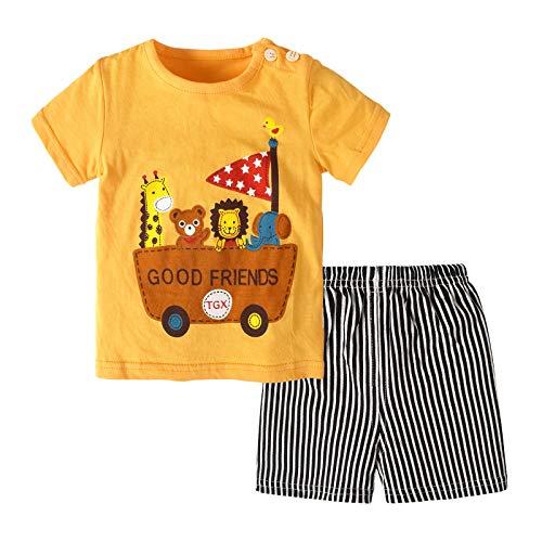 Conjunto de Ropa para niños, niñas y niños, Trajes de Verano para bebés y niños, Camiseta de Moda Infantil, Tops + Pantalones, Conjunto Corto, 2 uds, Conjunto de Ropa de Dormir para niños, 3-6 Meses