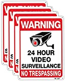 Warning Security Cameras in Use 24 Hour Video Surveillance Sign 10x14 Aluminum UV Ink Printed,Durable/Weatherproof Up to 7 Years Outdoor for House and Business (4-Pack)