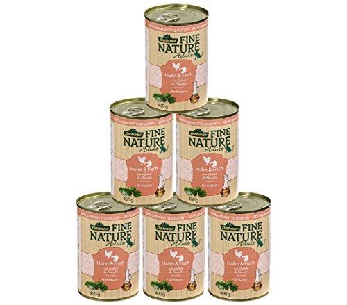 Dehner Fine Nature Katzenfutter Adult, Lebensmittelqualität, Huhn und Fisch, 6 x 400 g (2,4 kg)