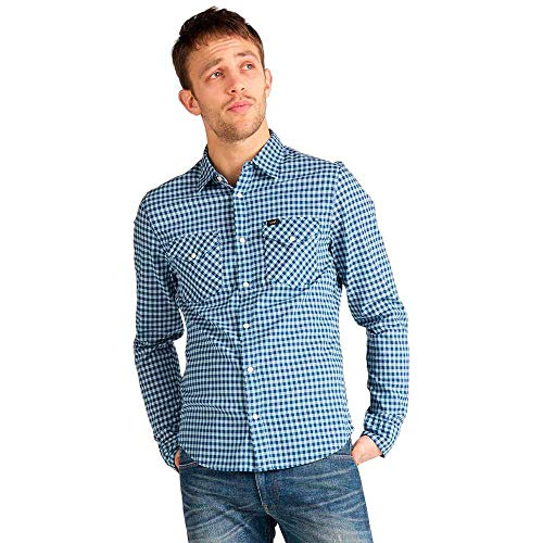 Lee Clean Western Shirt Camisa Casual, Azul (Washed Blue LR), Small para Hombre