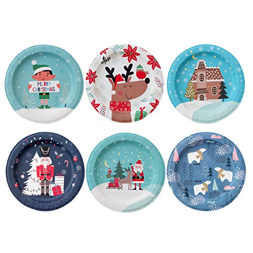 Paper Plates - 60-Count 8' x 8' Small Disposable Christmas Party Dessert Plates in 6 Assorted Designs - Reindeer, Santa, Polar Bear, Elf, Gingerbread House, Nutcracker - Christmas Party Supplies