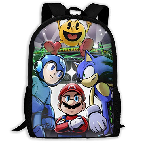 Super Smash Bros Mario Sonic Mega Man Mochila de viaje ligera al aire libre escuela universidad bolsa durable impermeable computadora mochila niños niñas