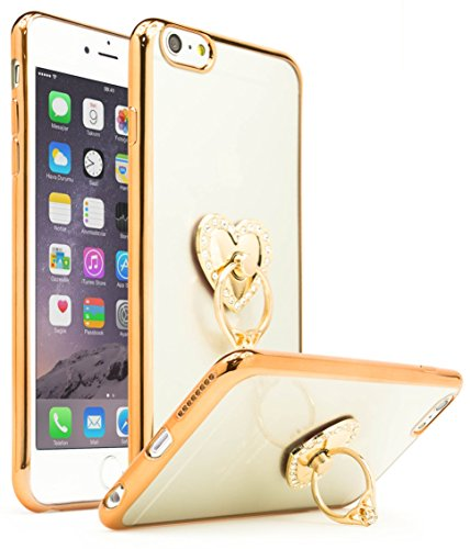 iPhone 6 Plus Case, Bastex Slim Fit Clear Plastic TPU Gold Bumper Case Cover with Bling Heart Ring Holder Kickstand for Apple iPhone 6 Plus/6s Plus