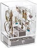 V-HANVER Joyero Transparente, Acrílico Pendientes Caja, Joyas Soporte Caja, Anillos Pulseras Organizador, 4 Cajones Joyería Exhibición Almacenamiento