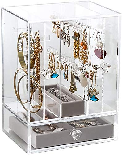 V-HANVER Acrylic Jewelry Organiser Box, Earring Holder, Clear Case for Necklaces, Jewellery Storage Display with 3 Vertical Drawers and 1 Horizontal Drawer