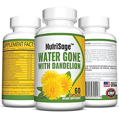 Premium Diuretic Water Pill with Dandelion ? Fights Water Retention & Bloating Without The Drugs Found in Medicinal Pills ? Pure & Potent Choice of Diuretics ? Natural & Safe - Order Risk Free.